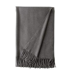 50% Wool 50% Silk Scarf,Ultra Soft with Tassel (Gray)