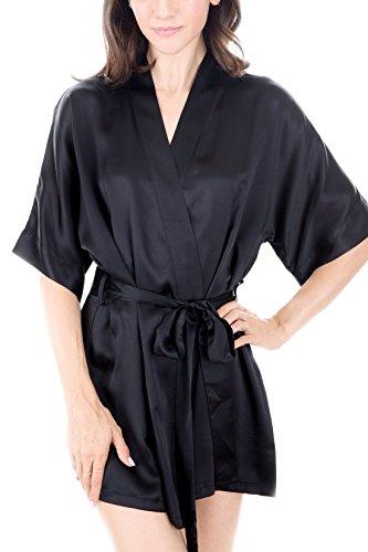 Women's Luxury Sleepwear 100% Silk Robe by Oscar Rossa, Black, L