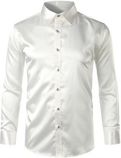 ZEROYAA Mens Regular Fit Long Sleeve Shiny Satin Silk Like Dance Prom Dress Shirt Tops Z6 White  ...