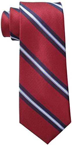 Tommy Hilfiger Men's Oxford Rib Stripe Tie, Red, One Size