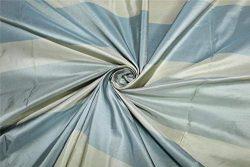 Puresilks Silk Taffeta 3 Color Stripe Shades of Slate Blue and Cream Fabric54 TAFS154[1]