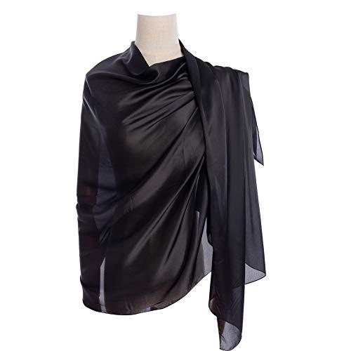 Cyzlann Women's Scarves 100% Silk Long Lightweight Scarfs for Women (black)