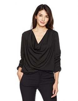 Suite Alice Women's Women's 3/4 Sleeve Drape Front Cowl Neck Top Medium Black