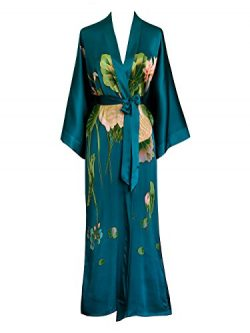 Old Shanghai Women's Silk Kimono Long Robe – Handpainted – Crane Teal