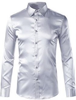 ZEROYAA Men's Slim Fit Silk Like Satin Disco Dance Prom Dress Shirt Z5-Silver XXX-Large