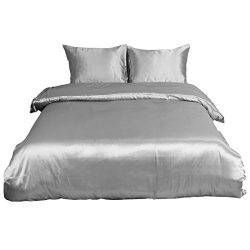 uxcell Ultra Soft Silky Satin Solid Color 3-Piece Bedding Set – 1 Duvet Cover and 2 Pillow ...