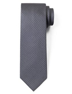 "Origin Ties 100% Silk Textured Solid Color Men's Skinny Tie 3"" Necktie Medium Grey"