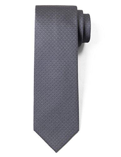 "Origin Ties 100% Silk Textured Solid Color Men's Skinny Tie 3"" Necktie Medium Grey"