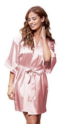 Women's Pure Color Satin Short Kimono Bridesmaids Lingerie Robes (Small/Medium, Light Pink)