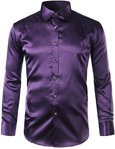 ZEROYAA Mens Regular Fit Long Sleeve Shiny Satin Silk Like Dance Prom Dress Shirt Tops Z6 Dark P ...
