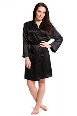 Fishers Finery Women's 100% Pure Mulberry Silk Bathrobe; Above Knee (Black, M)