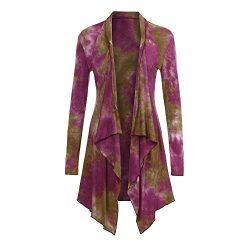 BODOAO Women's Drape Front Open Cardigan Long Sleeve Irregular Kimono Cardigans