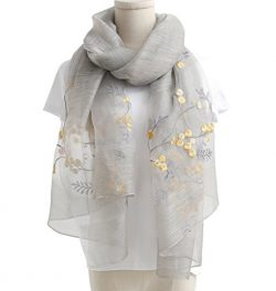 WS Natural Silk Scarf/Shawl / Wrap For Women Fashion Scarves (Grey Floral)