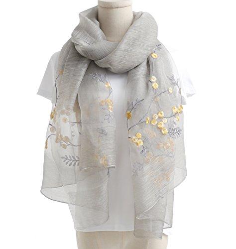 WS Natural Silk Scarf/Shawl / Wrap For Women Fashion Scarves (Grey Floral)