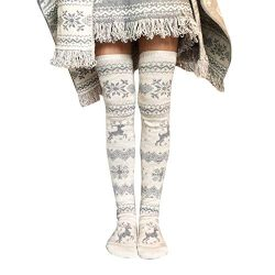 Clearance Women Christmas Thigh High Long Stockings Knit Over Knee Socks Xmas Duseedik