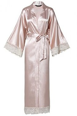 BABEYOND Womens Satin Kimono Robe Long Bridesmaid Wedding Robes for Bachelorette Party Bath Robe ...