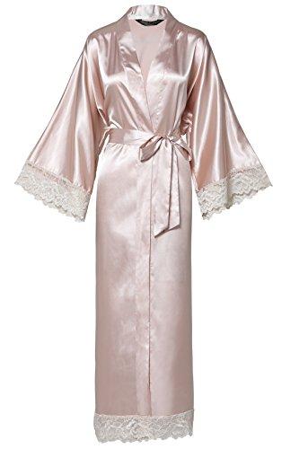 BABEYOND Womens Satin Kimono Robe Long Bridesmaid Wedding Robes for Bachelorette Party Bath Robe ...