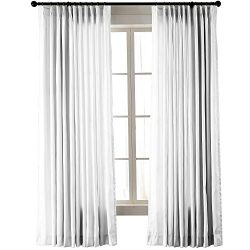 ChadMade Vintage Textured Faux Dupioni Silk Drape Curtain Panel Pinch Pleated 72″ W x 84&# ...