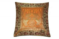 Traditional Indian Embroidered Silk Throw Elephant Design Banarasi Brocade Work Cushion Pillow C ...