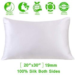 SweetSilk Skin, 100% Pure Natural 19 Momme 6A Slip Satin Pillow Case Cover Hair Silk Pillowcase  ...