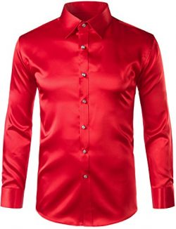 ZEROYAA Mens Regular Fit Long Sleeve Shiny Satin Silk Like Dance Prom Dress Shirt Tops Z6 Red Medium