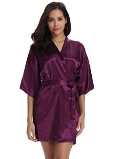 Vlazom Women Kimono Robes Satin Dressing Gown Short Silk Bridal/Bridesmaid Robe Nightwear with O ...