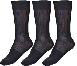 Mens Thin Socks Silk Sheer Trouser Sock Mid-Calf Cool For Summer 3 Packs