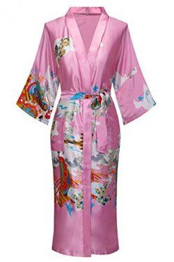 Dandychic Women's Kimono Robes Pagoda Print Kimono Imitation Silk Long Style Large Pink