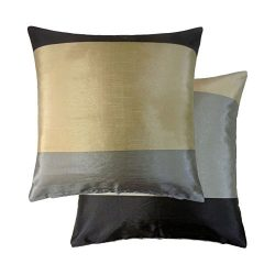 BRAZIL BLACK GREY BEIGE STRIPE STRIPED FAUX SILK THROW PILLOW SCATTER CUSHION COVER TO MATCH DRA ...