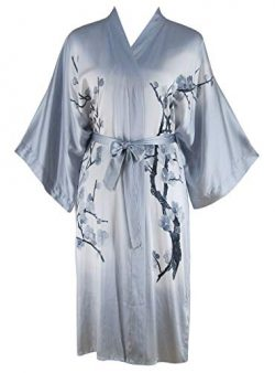 Ledamon Women's 100% Silk Kimono Short Robe – Classic Handpainted (Light Gray)