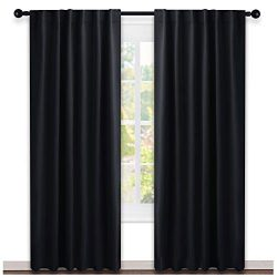 NICETOWN Black Out Curtain Panels for Bedroom – (Black Color) W52 x L84, 1 Pair, Thermal I ...