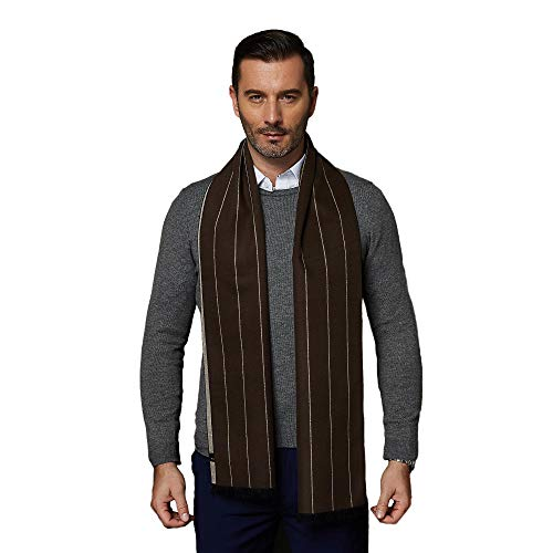 CUDDLE DREAMS Men's Silk Scarves, 100% Mulberry Silk Brushed, Luxuriously Soft (Stripe Coffee)