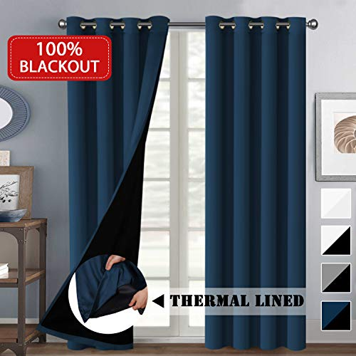 Full Blackout Navy Curtains Rich Faux Silk Satin with Black Liner Thermal Insulated Window Treat ...