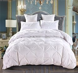 LAMEJOR Silk Cotton Duvet Cover Queen Size Pinch Pleat 3PCS White Color Bedding Set Comforter Co ...