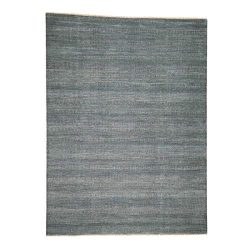 Hand-Knotted Wool and Silk Grass Design Oriental Rug(9'1″ x12'2)