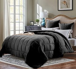 Evolive All Season Pre Washed Soft Microfiber White Goose Down Alternative Comforter (Black, King)