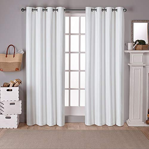 Exclusive Home Raw Silk Thermal Grommet Top Curtain Panel Pair, Off-white, 54×96, 2 Piece