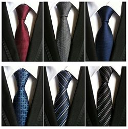 Kaptin 6 Pack Classic Men's Tie Silk Neckties Woven Jacquard Neck Ties Set