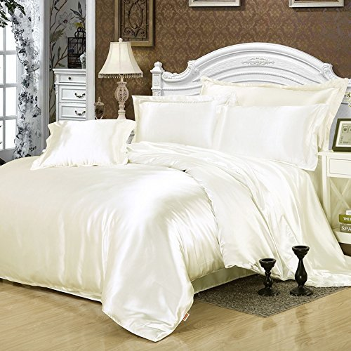 Furlove White Silk Bedding Set Duvet Cover Silk Pillowcase Silk Sheet Luxury Bedding, Full Size