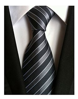 Men's Classic Black Stripe Tie Jacquard Woven Silk Necktie + Gift Box