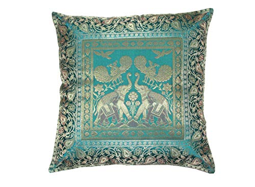 Real online seller Square Silk Home Decor Cushion Cover, Indian Silk Brocade Pillow Cover, Handm ...
