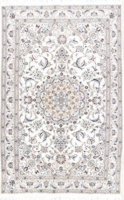 Rug Source Nain Beige Hand Knotted Wool & Silk Floral Persian Area Rug Carpet 5×8 for L ...