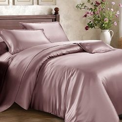 Roch Linen Hotel Quality Silky Soft Luxurious Satin 7 Pc Sheet Set Wrinkle & Fade Resistant, ...