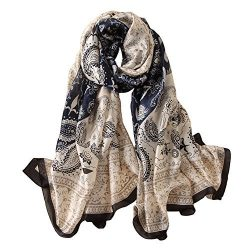 Alice Women Classy Silk Paisley Print Long Scarf Shawls Wraps Navy Blue