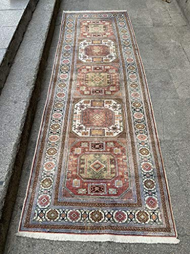 3.4×9.11 Feet Faded Silk On Cotton Handicraft Rug Ethnic And Contemporary Rug Runner Vintag ...