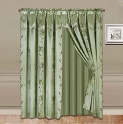 2 Panel Window Curtain Set (120″ W x 84″ L) with Valance and Sheer Backing and 2 Tas ...