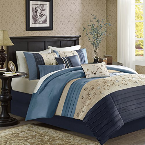 Madison Park Serene Cal King Size Bed Comforter Set Bed in A Bag – Navy, Embroidered – 7 P ...