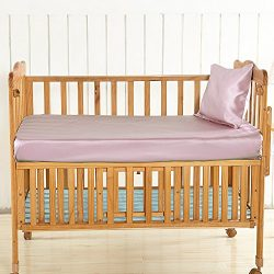 LilySilk Pink Silk Fitted Sheet Crib for Baby Toddler Organic Ultra Soft, Smooth, Hypoallergenic ...