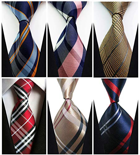 Set of 6 w3dayup Men's Classic Tie Neck tie Woven Jacquard Neck Ties For Men 6pt005