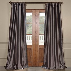 Half Price Drapes PTCH-BO005-120 Blackout Faux Silk Taffeta Curtain, Graphite
